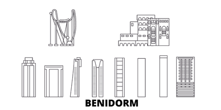 Spain, Benidorm line travel skyline set. Spain, Benidorm outline city vector panorama, illustration, travel sights, landmarks, streets.