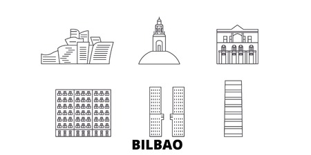 España, Bilbao la línea del horizonte de viaje. España, Bilbao esquema panorama vectorial de la ciudad, ilustración, lugares turísticos, monumentos, calles.
