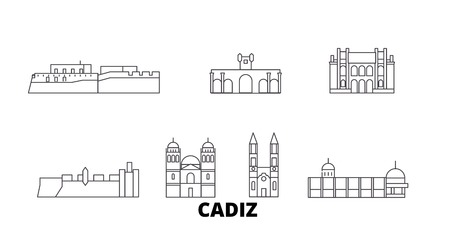 Spain, Cadiz line travel skyline set. Spain, Cadiz outline city vector panorama, illustration, travel sights, landmarks, streets.