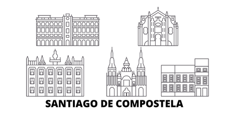 Spain, Santiago De Compostela line travel skyline set. Spain, Santiago De Compostela outline city vector panorama, illustration, travel sights, landmarks, streets.