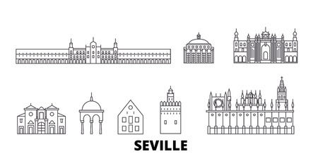 Spain, Seville line travel skyline set. Spain, Seville outline city vector panorama, illustration, travel sights, landmarks, streets.