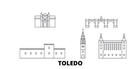 Spain, Toledo line travel skyline set. Spain, Toledo outline city vector panorama, illustration, travel sights, landmarks, streets. Illustration