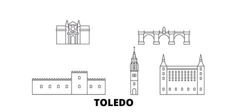 Spain, Toledo line travel skyline set. Spain, Toledo outline city vector panorama, illustration, travel sights, landmarks, streets. Illustration