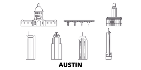 United States, Austin line travel skyline set. United States, Austin outline city vector panorama, illustration, travel sights, landmarks, streets. Illustration