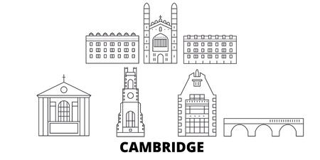 United Kingdom, Cambridge line travel skyline set. United Kingdom, Cambridge outline city vector panorama, illustration, travel sights, landmarks, streets.