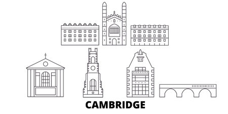 United Kingdom, Cambridge line travel skyline set. United Kingdom, Cambridge outline city vector panorama, illustration, travel sights, landmarks, streets.