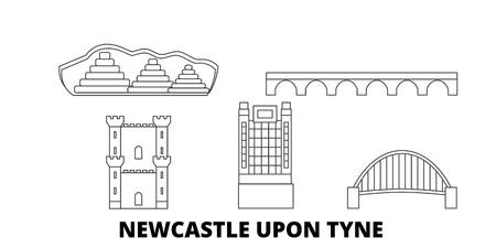 United Kingdom, Newcastle Upon Tyne line travel skyline set. United Kingdom, Newcastle Upon Tyne outline city vector panorama, illustration, travel sights, landmarks, streets. Illustration