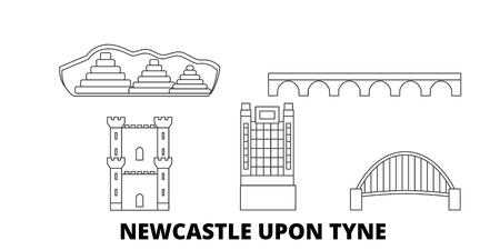 United Kingdom, Newcastle Upon Tyne line travel skyline set. United Kingdom, Newcastle Upon Tyne outline city vector panorama, illustration, travel sights, landmarks, streets. Çizim
