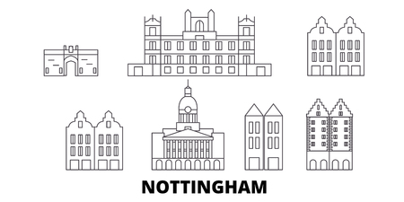 United Kingdom, Nottingham line travel skyline set. United Kingdom, Nottingham outline city vector panorama, illustration, travel sights, landmarks, streets.