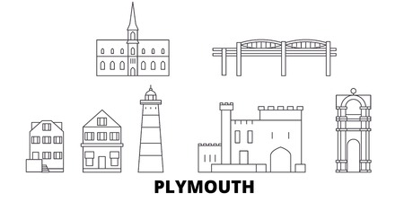 United Kingdom, Plymouth line travel skyline set. United Kingdom, Plymouth outline city vector panorama, illustration, travel sights, landmarks, streets.