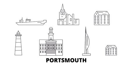 United Kingdom, Portsmouth line travel skyline set. United Kingdom, Portsmouth outline city vector panorama, illustration, travel sights, landmarks, streets.