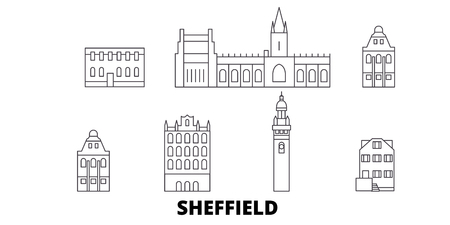 United Kingdom, Sheffield line travel skyline set. United Kingdom, Sheffield outline city vector panorama, illustration, travel sights, landmarks, streets.