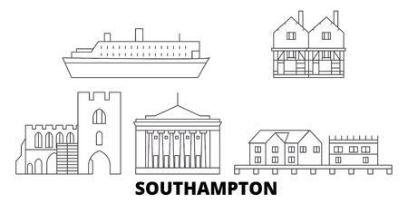 United Kingdom, Southampton line travel skyline set. United Kingdom, Southampton outline city vector panorama, illustration, travel sights, landmarks, streets. Illustration
