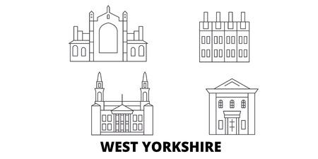 United Kingdom, West Yorkshire line travel skyline set. United Kingdom, West Yorkshire outline city vector panorama, illustration, travel sights, landmarks, streets.