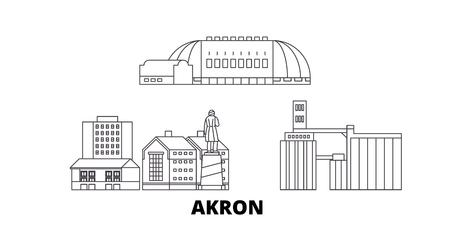United States, Akron line travel skyline set. United States, Akron outline city vector panorama, illustration, travel sights, landmarks, streets. 向量圖像