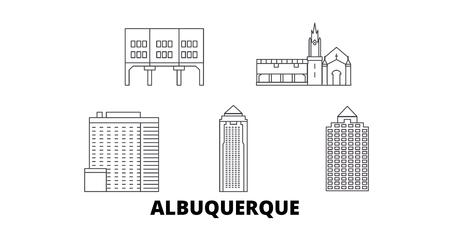 United States, Albuquerque City line travel skyline set. United States, Albuquerque City outline city vector panorama, illustration, travel sights, landmarks, streets.