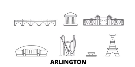 United States, Arlington line travel skyline set. United States, Arlington outline city vector panorama, illustration, travel sights, landmarks, streets.