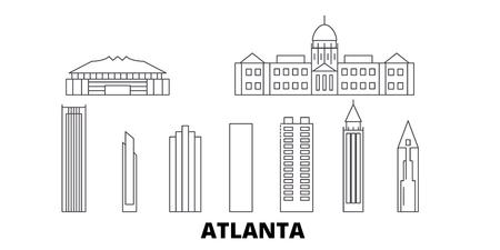 United States, Atlanta line travel skyline set. United States, Atlanta outline city vector panorama, illustration, travel sights, landmarks, streets.