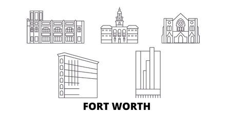 United States, Fort Worth line travel skyline set. United States, Fort Worth outline city vector panorama, illustration, travel sights, landmarks, streets.