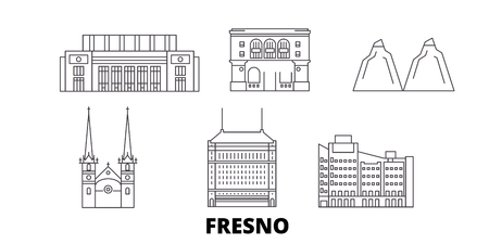 United States, Fresno line travel skyline set. United States, Fresno outline city vector panorama, illustration, travel sights, landmarks, streets.