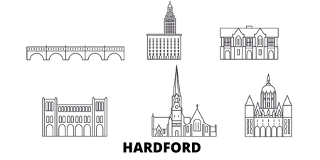United States, Hartford line travel skyline set. United States, Hartford outline city vector panorama, illustration, travel sights, landmarks, streets.