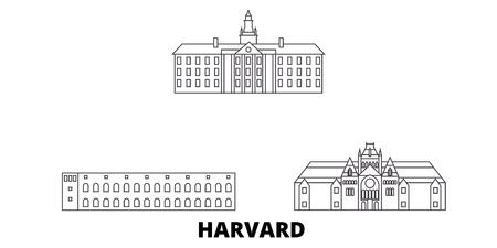 United States, Harvard line travel skyline set. United States, Harvard outline city vector panorama, illustration, travel sights, landmarks, streets.