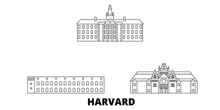 United States, Harvard line travel skyline set. United States, Harvard outline city vector panorama, illustration, travel sights, landmarks, streets.