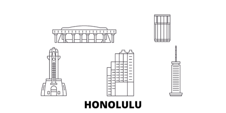 United States, Honolulu line travel skyline set. United States, Honolulu outline city vector panorama, illustration, travel sights, landmarks, streets.