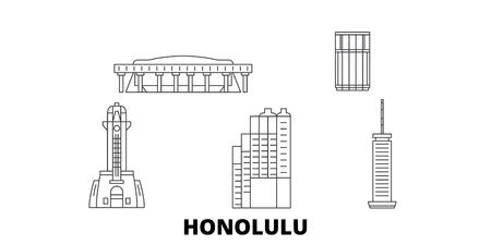 United States, Honolulu line travel skyline set. United States, Honolulu outline city vector panorama, illustration, travel sights, landmarks, streets.