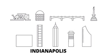 United States, Indianapolis  line travel skyline set. United States, Indianapolis  outline city vector panorama, illustration, travel sights, landmarks, streets.