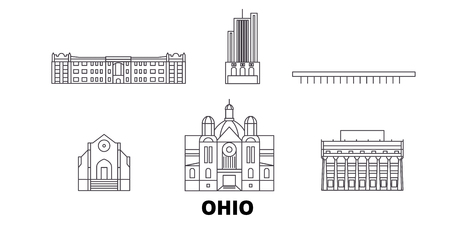 United States, Dayton line travel skyline set. United States, Dayton outline city vector panorama, illustration, travel sights, landmarks, streets. 向量圖像