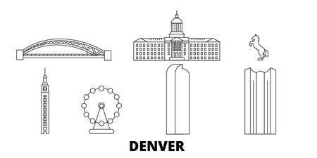 United States, Denver line travel skyline set. United States, Denver outline city vector panorama, illustration, travel sights, landmarks, streets.