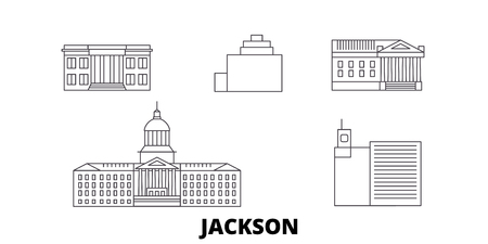 United States, Jackson line travel skyline set. United States, Jackson outline city vector panorama, illustration, travel sights, landmarks, streets. Иллюстрация