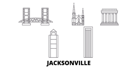 United States, Jacksonville line travel skyline set. United States, Jacksonville outline city vector panorama, illustration, travel sights, landmarks, streets. Stock Vector - 120655976