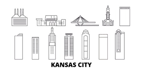 United States, Kansas City line travel skyline set. United States, Kansas City outline city vector panorama, illustration, travel sights, landmarks, streets.