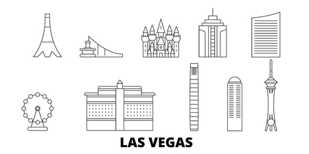 United States, Las Vegas line travel skyline set. United States, Las Vegas outline city vector panorama, illustration, travel sights, landmarks, streets.