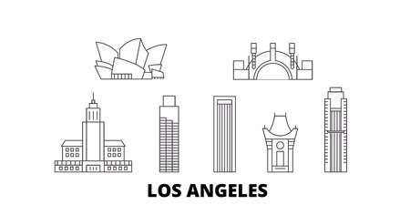 États-Unis, ensemble d'horizon de voyage en ligne de Los Angeles. États-Unis, Los Angeles décrivent le panorama vectoriel de la ville, l'illustration, les sites touristiques, les monuments, les rues.