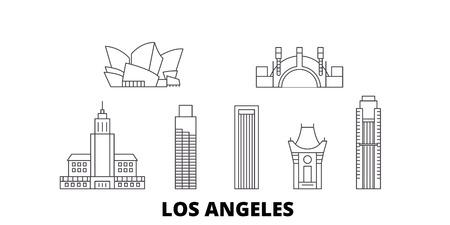 United States, Los Angeles line travel skyline set. United States, Los Angeles outline city vector panorama, illustration, travel sights, landmarks, streets.