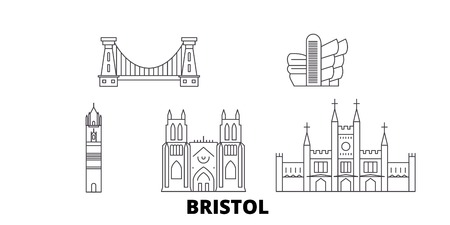 United Kingdom, Bristol line travel skyline set. United Kingdom, Bristol outline city vector panorama, illustration, travel sights, landmarks, streets. Illustration