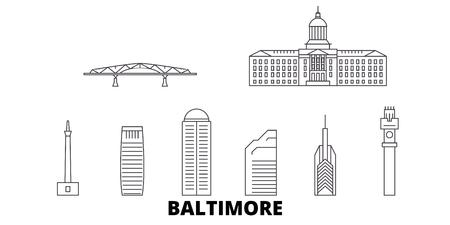 United States, Baltimore line travel skyline set. United States, Baltimore outline city vector panorama, illustration, travel sights, landmarks, streets. Stock Illustratie