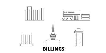 United States, Billings line travel skyline set. United States, Billings outline city vector panorama, illustration, travel sights, landmarks, streets. Stok Fotoğraf - 120655977