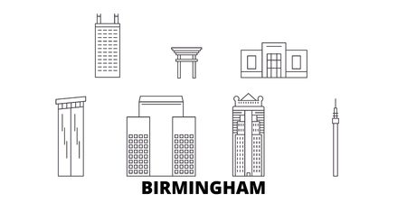 United States, Birmingham line travel skyline set. United States, Birmingham outline city vector panorama, illustration, travel sights, landmarks, streets.