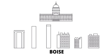United States, Boise line travel skyline set. United States, Boise outline city vector panorama, illustration, travel sights, landmarks, streets. 일러스트