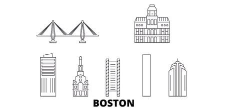 États-Unis, ensemble d'horizon de voyage en ligne de Boston City. États-Unis, Boston City contour vectoriel de la ville, illustration, sites touristiques, monuments, rues.