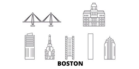 United States, Boston City line travel skyline set. United States, Boston City outline city vector panorama, illustration, travel sights, landmarks, streets.