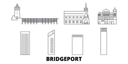 United States, Bridgeport line travel skyline set. United States, Bridgeport outline city vector panorama, illustration, travel sights, landmarks, streets.