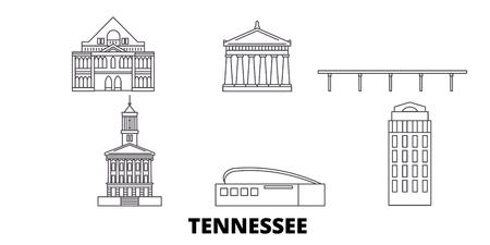 United States, Nashville line travel skyline set. United States, Nashville outline city vector panorama, illustration, travel sights, landmarks, streets.