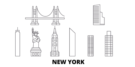 United States, New York line travel skyline set. United States, New York outline city vector panorama, illustration, travel sights, landmarks, streets. Ilustracja
