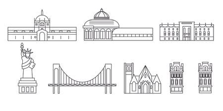 United States, New York Bronx line travel skyline set. United States, New York Bronx outline city vector panorama, illustration, travel sights, landmarks, streets. Illustration