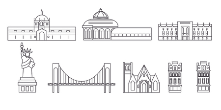 United States, New York Bronx line travel skyline set. United States, New York Bronx outline city vector panorama, illustration, travel sights, landmarks, streets. Ilustracja
